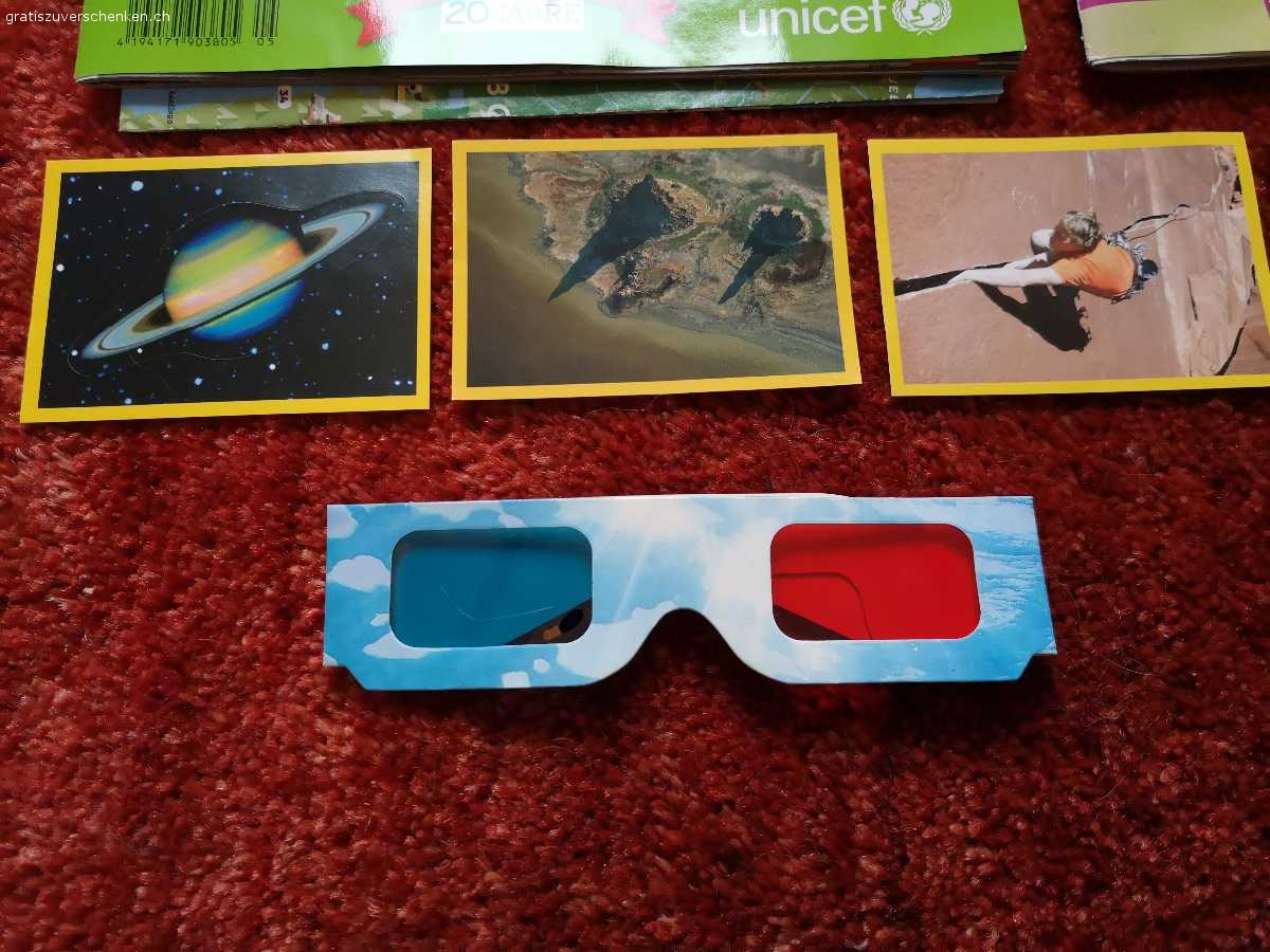 Geolino Hefter +National Geographic  Sticker, 3D Brille